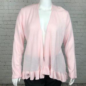 Blush Pink Ruffle Hem Open Front Cardigan Size 1X